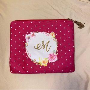 "Handbags - ""M"" polka dot floral makeup bag"